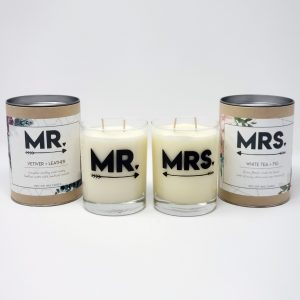 Mr and Mrs gift candles