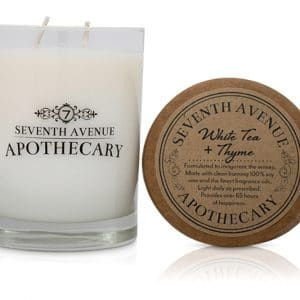white tea + thyme soy wax candle