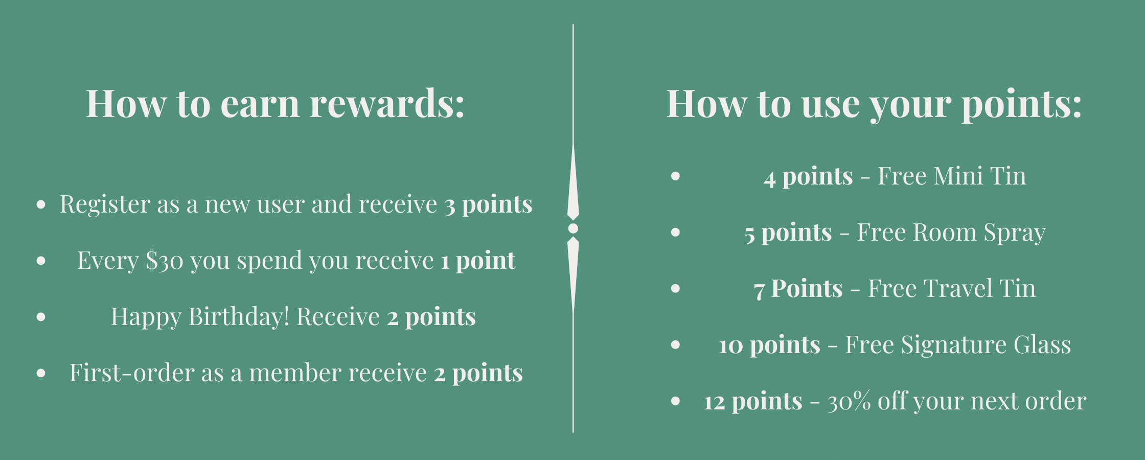Seventh Avenue Apothecary Rewards member rules and point redemption